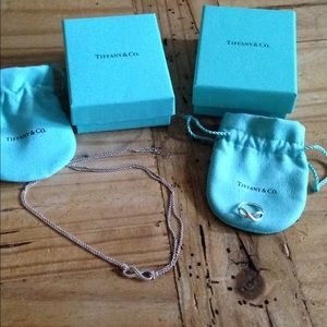 Tiffany infinity necklace, ring with boxes & bags